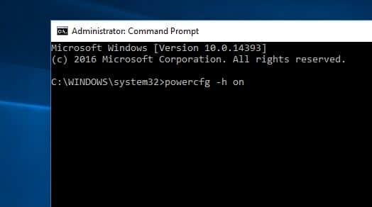 enable windows 10 hibrnate option