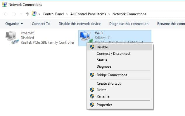 Disable and Enable Network Adapters