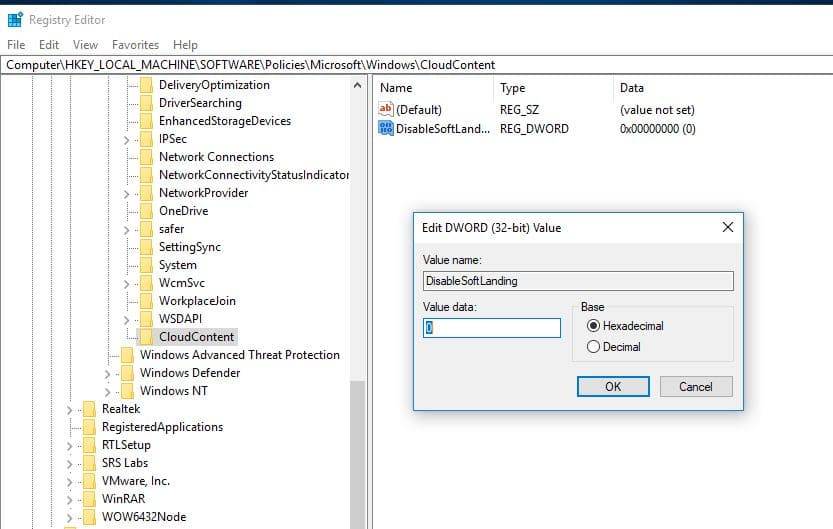 Disable windows suggestion popup Using Registry Editor